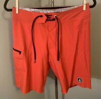 Volcom 4 Way Stretch Solid Red Athletic Board Shorts Size 28