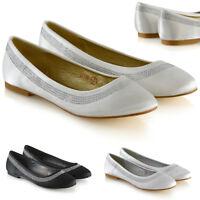 Womens Bridal Diamante Pumps Ladies Slip On Flat Satin Bridesmaid Party Shoes