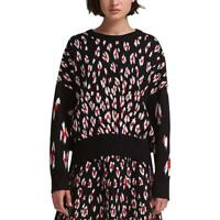 DKNY Womens Printed Crew Neck Cropped Pullover Sweater Top BHFO 4567