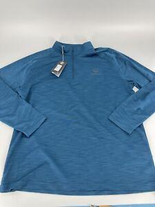 Under Armour Men's Top Golf Blue Loose 1/4 Zip Long Sleeve Shirt Size 2XL #90
