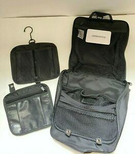 LL Bean Black Nylon Hanging Shower Caddy Toiletry Organizer Zip Up Travel Bag