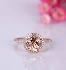 2Ct Round Cut Simulant Pink Morganite & Diamond Halo Ring Silver Rose Gold Finsh
