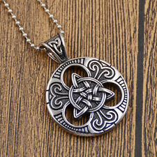 Men Women Celtic Knot Magic Pendant Stainless Steel Necklace chain Jewelry