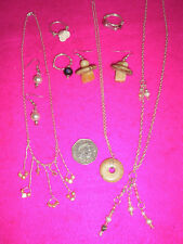 COSTUME JEWELLERY NECKLACES X 3 EARRINGS X 2PR RINGS X 3 BEADS/STONES JOB LOT