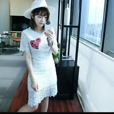 Korean Fashion Woman Summer Nouveau à manches courtes robe
