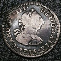 1785 FM 1/2 Real Mexico King Charles III Milled Bust US First Silver Cob Coin