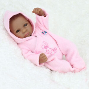 11'' Reborn Baby Alive Dolls African American Baby Black Girl Realistic Silicone