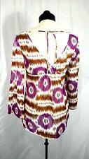 TRINA TURK Nwot Women P Purple Print Cotton Flare Sleeve Wrap Back V-Neck Blouse
