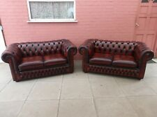 A Pair Conker Brown Leather Chesterfield Two Seater Settees
