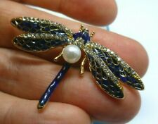 Dragonfly brooch blue enamel crystal pearl vintage style insect pin gift
