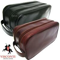 Mens Wash Bag Toiletry Wet Pack Real Leather Black Brown Quality Visconti New