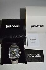 JUST CAVALLI Man's Stainless Steel Black Dial Watch NEW in Box With Tags