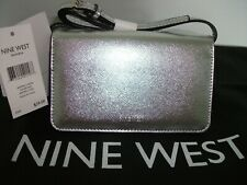 NINE WEST BRANNA SNAP WALLET WITH REMOVEABLE CROSS BODY STRAP METALLIC SILVER