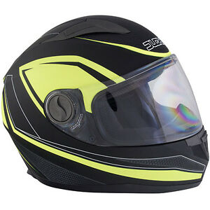 Duchinni D705 Syncro Motorcycle Helmet Yellow Crash Lid Scooter Motorbike Safety