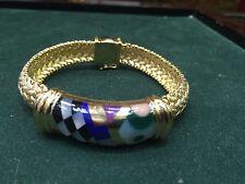 ASCH GROSSBARDT  14K Yellow Gold & Multi Colored Gemstone Inlay Bracelet