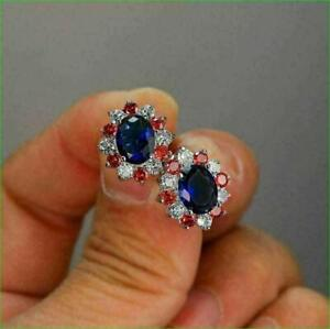 2Ct Oval Cut  Blue Sapphire & Red Ruby Halo Stud Earrings 14K White Gold Finish