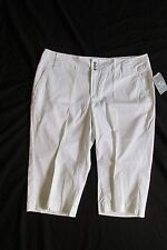 NEW WITH TAGS WOMEN'S FRENCH CUFF CAPRIS (CROPPED PANTS) SIZE 12 SOLID WHITE $44
