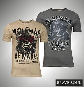 New Mens Branded Brave Soul Werewolf  Wolfman Party Animal T Shirt Size S M L XL