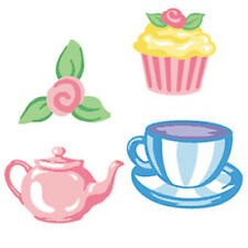 Tea Party Pink Flower Cup Teapots Wallies 25 Olive Kids Wall Stickers Decals Art
