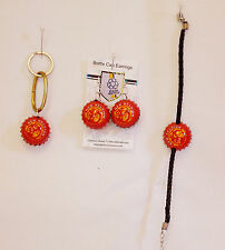 NEW BELGIUM Beer Bottle Cap Earrings Bracelet AND Key Chain Set Hand Crafted