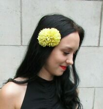 Double Chartreuse Ochre Yellow Flower Hair Clip Boho Fascinator Floral 7334