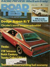 ROAD TEST MAGAZINE 1976 APR - ASPEN R/T, RACING, SIROCCO, CELICA, V6 SHOOTOUT
