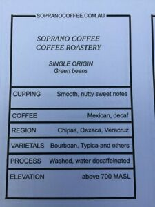 MEXICAN DECAF Raw green coffee beans 16kg BAG unroasted