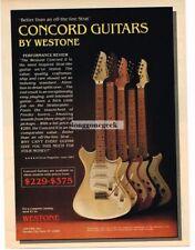 1982 WESTONE Concord II Electric Guitar Vtg Print Ad