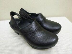 DANSKO PEARL 6.5 7 37 Black Leather Floral Textured Slingback Heels Clogs Mules