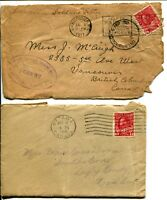 Early CANADA Covers Stamps Postage 1916-1917 Vancouver Ottawa Used
