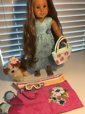 American Girl Doll Kanani Collectors Lot Includes Dog Purse Snorkels Pajamas+++