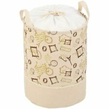 Collapsible Pop-up Laundry Hamper Portable Jute Clothes Storage Drawstring Bag