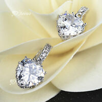 18K WHITE GOLD GF CLEAR CRYSTAL WEDDING WOMENS HEART STUD DANGLE EARRINGS