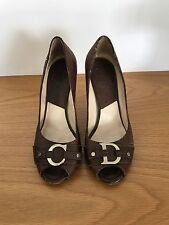 Christian Dior Brown Ladies Peep Toe Heels Size 40