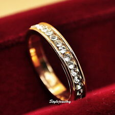 Gold Plated Made With Swarovski Crystal Wedding Eternity Ring Band Size 7 SR138