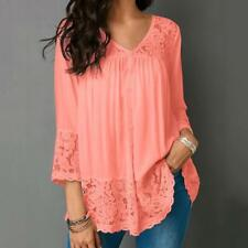 Ladies Women Summer Loose Casual Chiffon Long Sleeve Lace T Shirt Tops Blouse