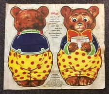 RARE 1925 KELLOGGS JOHNNY BEAR GOLDILOCKS 3 BEARS CLOTH CUTOUT ADVERTISING DOLL