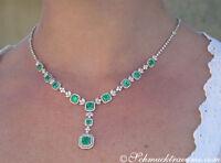 Luxus: Brillanten Collier mit kolumbianischen Smaragden, 14.59 ct. WG750 68.700€