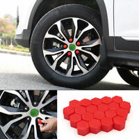 20x Red Car Truck Wheel Tyre Hub Screw Bolt Nut 19mm Plastic Cap Accessories