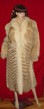 GENUINE COYOTE W/ FOX FUR COLLAR/TRIM FULL-LENGTH LONG COAT LARGE NATURAL COLORS