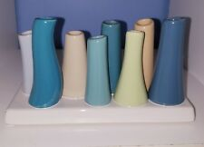 Ceramic Flower Vase 8-Tube Shape Steel Blue with Teal and Taupe Assortment