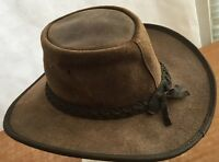 Outback Australian Hat Cowboy Leather Vintage Fox Fire Brown S Made In Australia