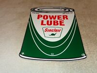 "VINTAGE 1952 SINCLAIR POWER LUBE OIL CAN +DINO 11"" PORCELAIN METAL GASOLINE SIGN"