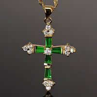 Lady Fashion Jewelry Big Cross Cut Green Emerald Gold Tone Pendant Necklace