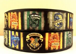 """By the Yard 7/8""""  Printed Harry Potter Griffindor Houses Grosgrain Ribbon  Lisa"""