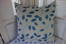 Hamptons Blue Embroidery Leaves Jacquard Damask Cushion Cover 45cm