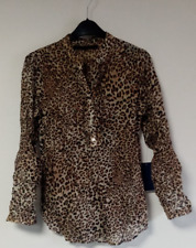 Zara Leopard Print Blouse Size UK Medium DH191 DD 15