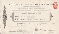 SCOTTISH EQUITABLE LIFE ASSURANCE SOCIETY 1906 Renewal Penny Stamp Receipt 46884