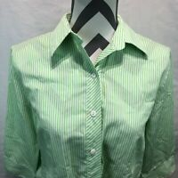 Foxcroft Sport Green White Striped Button Front Blouse 3/4 sleeve Size 10 L3