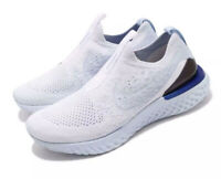 Nike Wmns Epic Phantom React FK Flyknit White Blue Sz 9 Running Shoe BV0415-101
